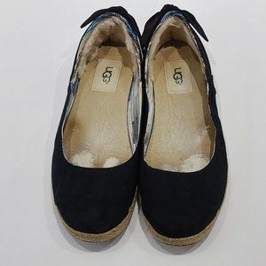 UGG Womens Black Perrie Shearling Lined Flats
